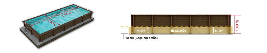 Piscina modelo Retangular 03, com 1,40m