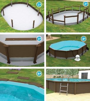 fases da piscina semi enterrada